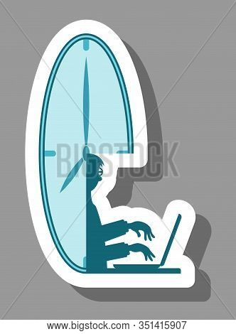 Part-time Worker Icon That Symbolizes Limited Time Worker. All The Objects, Shadows And Background A