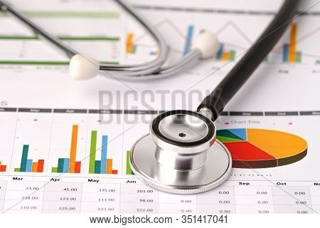 Stethoscope On Chart Or Graph Paper, Financial, Account, Statistics And Business Data  Medical Healt