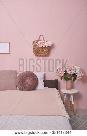 Interior Bedroom Furniture Concept. Cozy Pink Bedroom Corner. Cozy, Feminine Bedroom With Pink Bed,