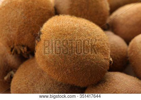 Ripe Kiwi Texture Background, Close Up. Sweet Fruit