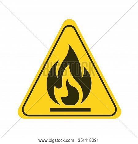 Attention Fire Hazard Yellow Element. Flammable Materials Warning Sign. Pictogram For Web Page, Mobi