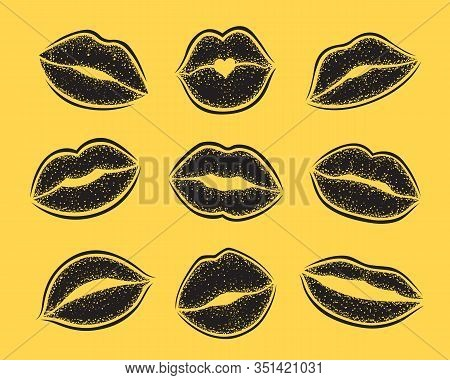 Modern Lips Prints On A White Background. Vector Set Of Womans Girl Lipstick Kiss Mark.