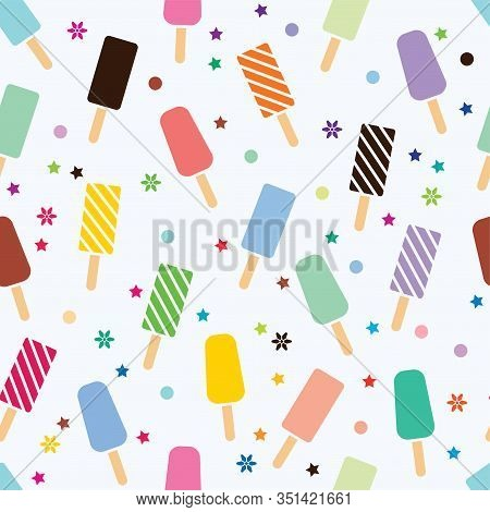 Vector Seamless  Pattern With Colorful Icecream On White Background