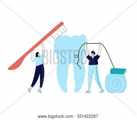 Vector Isolated Illustration Of Tooth And Doctor Holding Toothbrush And Dental Floss. Concept Of Tee