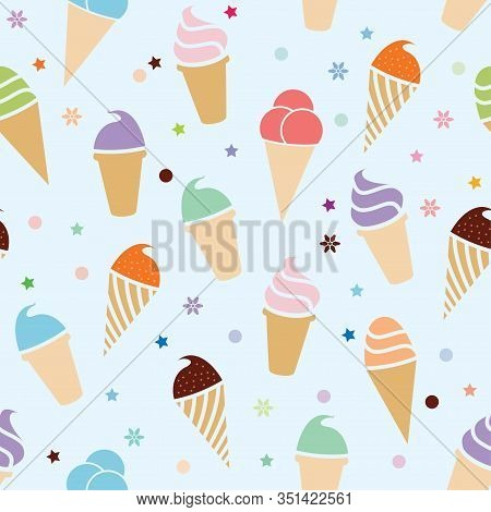 Vector Seamless Pattern With Colorful Icecream On Blue Background