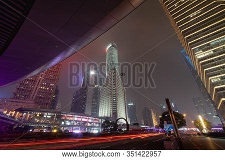 Shanghai, China - Jan 11 , 2020: A Night View Of The Modern Pudong Skyline Across The Bund In Shangh