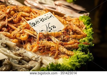 Fresh Scampi Lying On A Table, Market In Venice (italy)