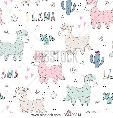 Cute Hand Drawn Seamless Pattern Lamas. Vector Print