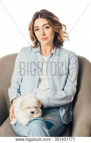 Woman Holding Havanese Puppy And Sitting On Armchair Isolated On White