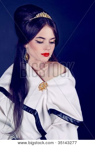 Luxury Beautiful Woman In White Tippet, Poncho