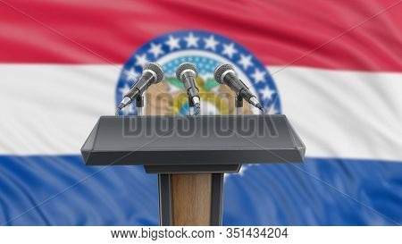 3d Illustration. Podium Lectern With Microphones And Missouri Flag In Background