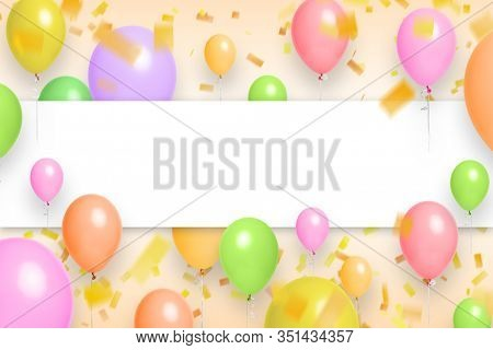 Balloons celebration background with place for text