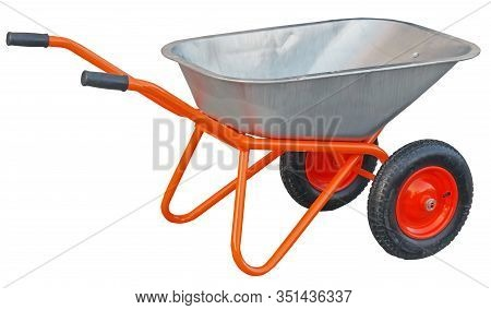 Garden Metal Wheelbarrow Cart Isolated On White Background