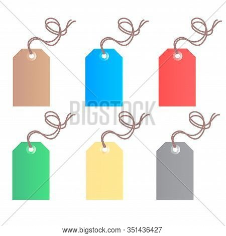 Set Of Six Colored Commodity Tags With Ropes. Vector Isolated Illustration.