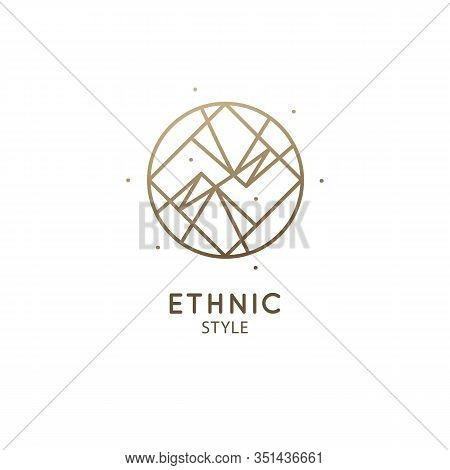 Vector Logo Of Nature Geometric Mirrored Mountains. Sacred Round Symbol With Triangular Shapes. Mini