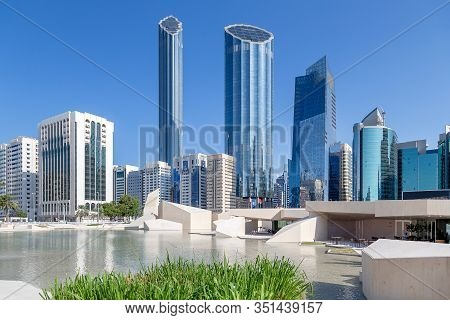 Abu Dhabi, Uae - November 22, 2019: Abu Dhabi Cityscape During Sunny Day. View From The Cultural Fou