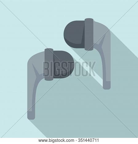 Stereo Wireless Earbuds Icon. Flat Illustration Of Stereo Wireless Earbuds Vector Icon For Web Desig