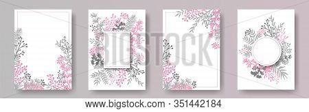 Cute Herb Twigs, Tree Branches, Leaves Floral Invitation Cards Collection. Bouquet Wreath Elegant In