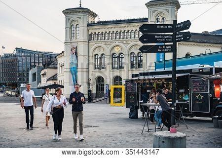 Oslo, Norway - August 3, 2018: People Visit Thai Food Truck In The Harbour Of Oslo, Near Nobel Peace