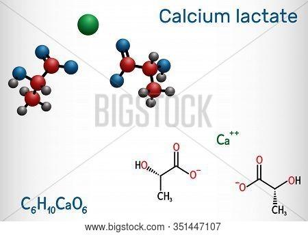 Calcium Lactate, C6h10cao6, Lactate Anion Molecule. It Is Used In Medicine To Treat Calcium Deficien