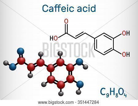 Caffeic Acid, C9h8o4 Molecule. It Is Hydroxycinnamic Acid With Antioxidant, Anti-inflammatory, Antin