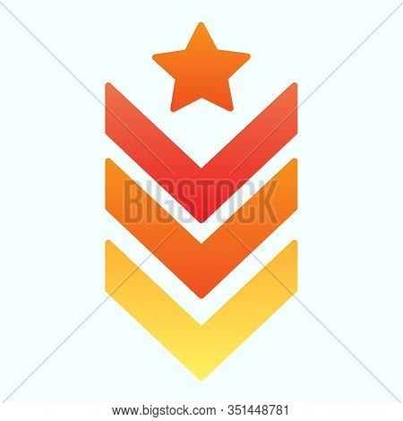 Military Epaulet Flat Icon. Army Rank Vector Illustration Isolated On White. Military Badge Gradient