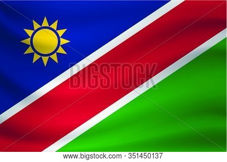 Waving Flag Of Namibia. Vector Illustration As Background
