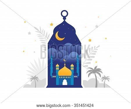 Ramadan Kareem, Happy Ramadan, Greeting Card And Banner. Eid Mubarak, Islamic Holiday Background. Ve