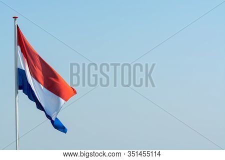 Flag Of The Kingdom Of The Netherlands, Dutch National Flag In Three Colors Red, White And Blue