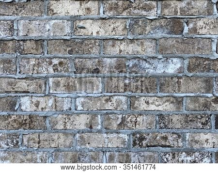 Old Stone Grout Textured Brick Block Wall