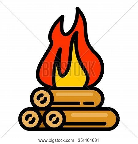 Burning Campfire Icon. Outline Burning Campfire Vector Icon For Web Design Isolated On White Backgro