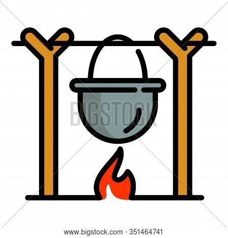 Cooking Campfire Icon. Outline Cooking Campfire Vector Icon For Web Design Isolated On White Backgro