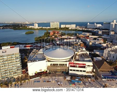 Cancun, Mexico - Jan. 22, 2020: Cancun Hard Rock Cafe And Forum By The Sea Mall Aerial View In The M