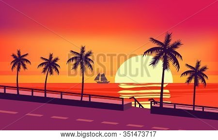 Sunset Beach Palm Trees Silhouettes, Summertime, Tropical Sea, Ocean, Highway Road. Panorama Colorfu
