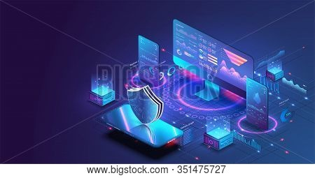 Application Of Pc And Smartphone With Business Graph And Analytics Data. Isometric Vector Illustrati