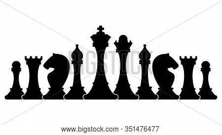 Set Of Figures For Chess. Series Of Chess Pieces. Series Of Chess Pieces. King, Queen And Rook, Bish