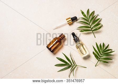 Hyaluronic Acid, Botulin, Face Serum In Vial. Flat Lay Image With Copy Space.