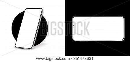 Smartphone Mockup. 3d Realistic Cell Phones Mockups With Blanks Screens. Vector Isolated Set. Mockup