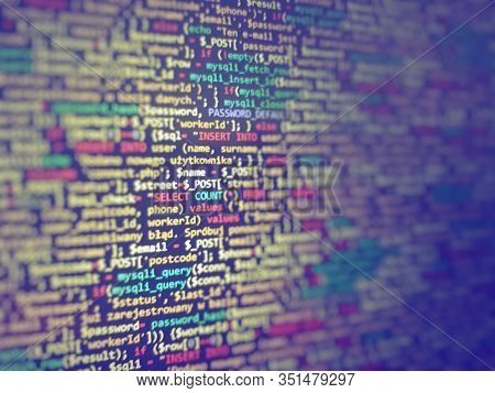 Blue Unique Background. Programming Php On Laptop Computer Screen. Program Code Php Html Css Of Site