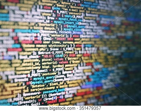 Unique Background. Programming Php On Laptop Computer Screen. Program Code Php Html Css Of Site. Tem