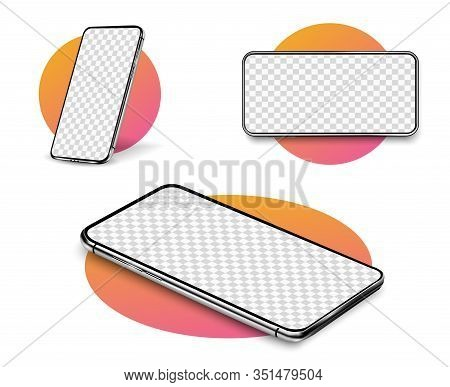 Smartphone Mockup. Realistic Cellphone With Blank White Screen, Modern Mobile Phone In Different Ang