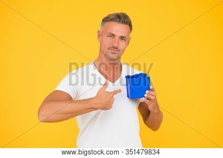Romantic Gift. Mature Guy Hold Present Box Yellow Background. Love Romantic Feelings Concept. Happy