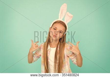 Bunny Ears Accessory. Easter Activities. Cute Bunny. Holiday Bunny Girl Posing With Cute Long Ears.