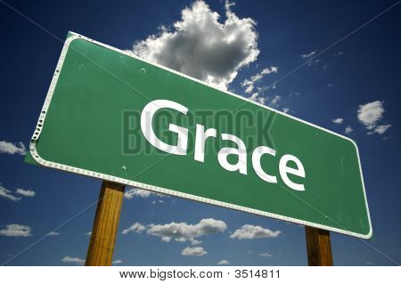 poster of Grace Road Sign with dramatic clouds and sky.