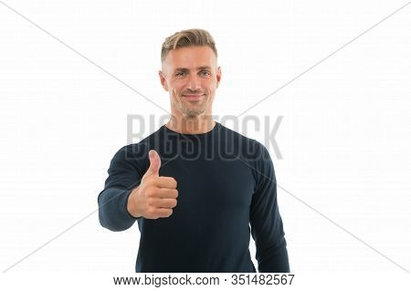 Recommended. Happy Promoter Give Thumbs Up Hand. Promoting And Approving. Promoting Product. Promoti