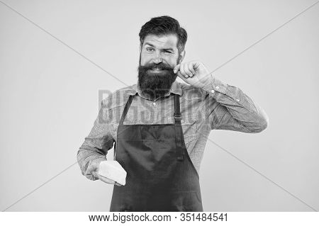Delicious And Healthy. Hipster With Beard In Chef Apron. Dairy Food Shop. Online Shopping. Gourmet P