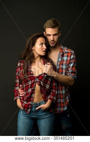 Man And Girl Passionate Couple. Couple In Love. Sexy Couple Taking Off Shirts. Passion Fashion. Mach