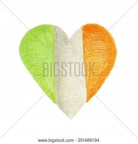 Heart In The Colors Of The Irish Flag. Patriotic Irish Heart Shape. Hand-drawn Illustration With Wat