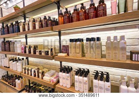 HONG KONG, CHINA - JANUARY 22, 2019: beauty products on display at John Masters Organics store at IFC mall in Hong Kong.