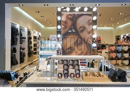 SINGAPORE - JANUARY 19, 2020: personal care products on display at H&M store in Singapore. H&M is a Swedish multinational clothing-retail company known for its fast-fashion clothing.